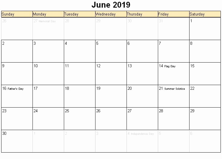 USA June 2019 Calendar with Holidays