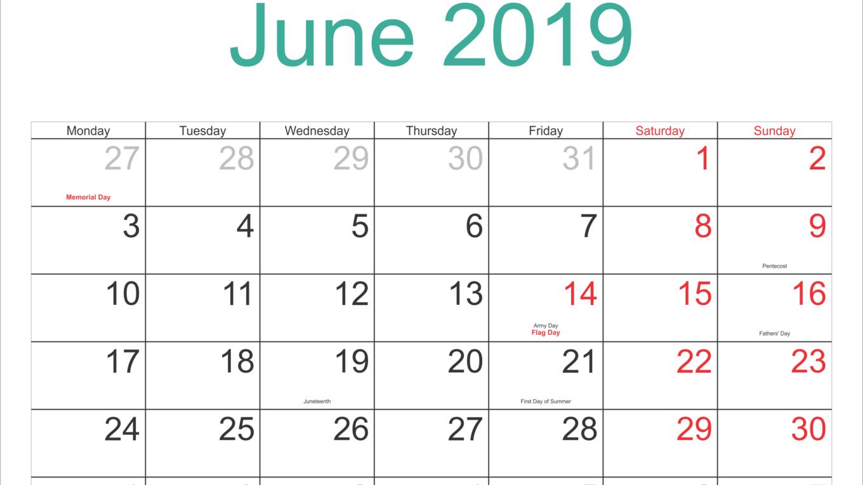 june 2019 holidays
