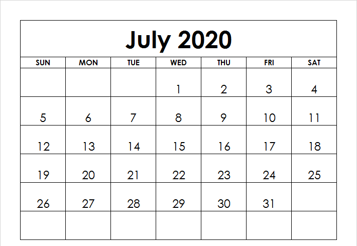 2020 July Printable Calendar Blank Template