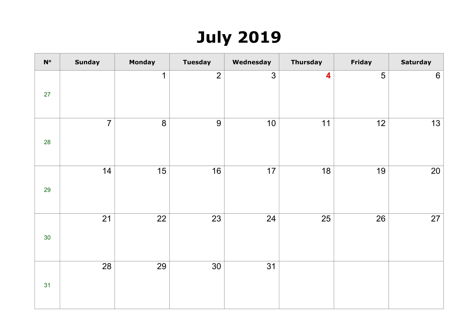 Blank Calendar for July 2019 To Print