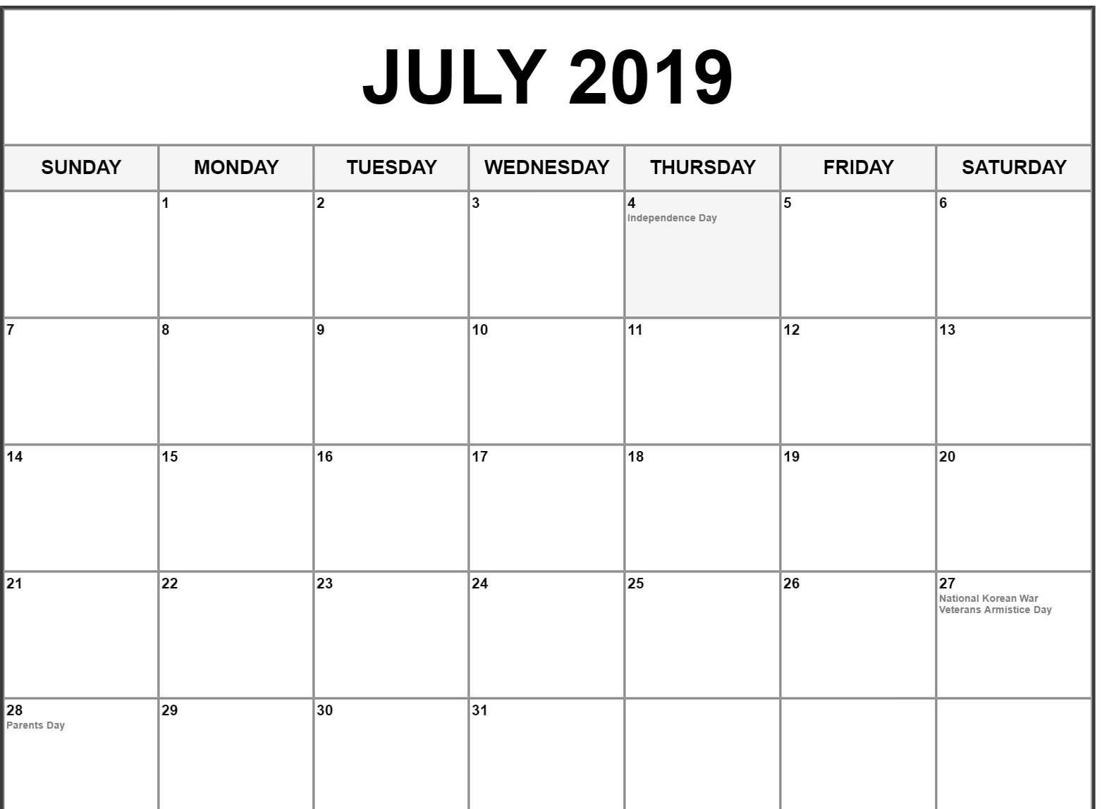 graphic regarding Free Printable July Calendar named Blank July 2019 Calendar Printable Template - No cost August