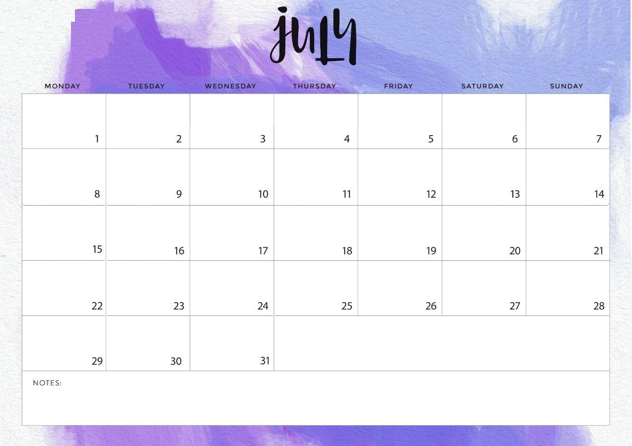 Blank July 2019 Desk Calendar