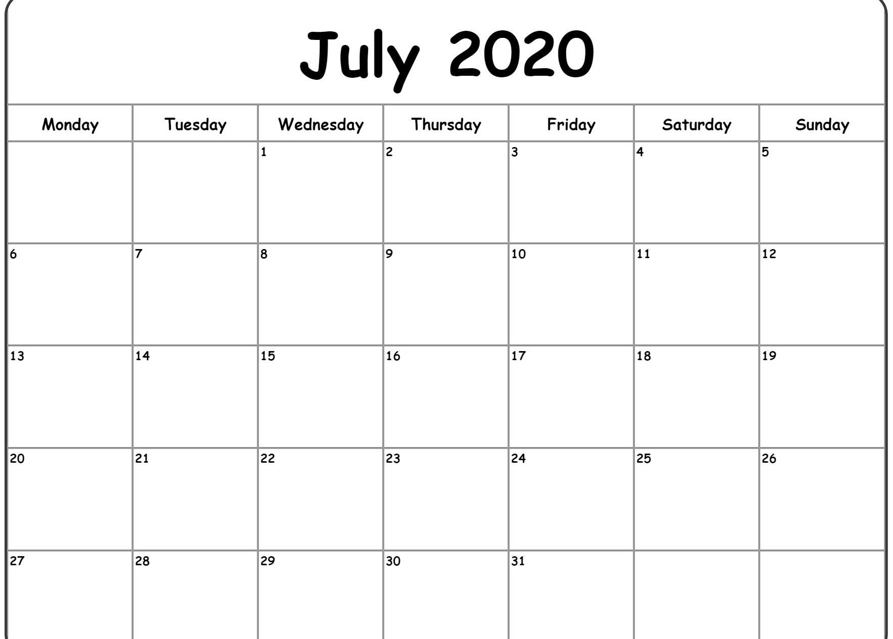 Blank July 2020 Calendar Printable