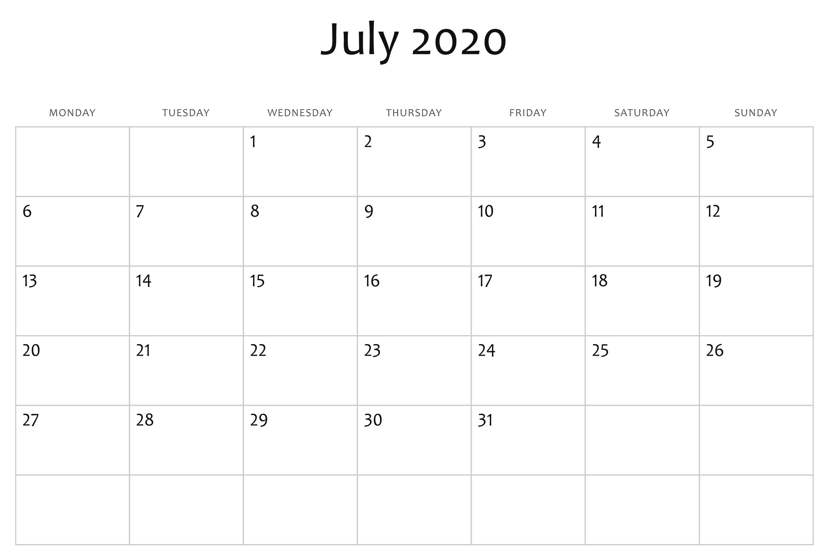 Blank July Calendar 2020 Template