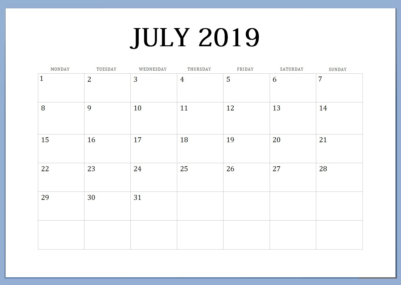 photo about Printable Blank Monthly Calendar identified as Blank Month to month Calendar July 2019 - Absolutely free August 2019 Calendar