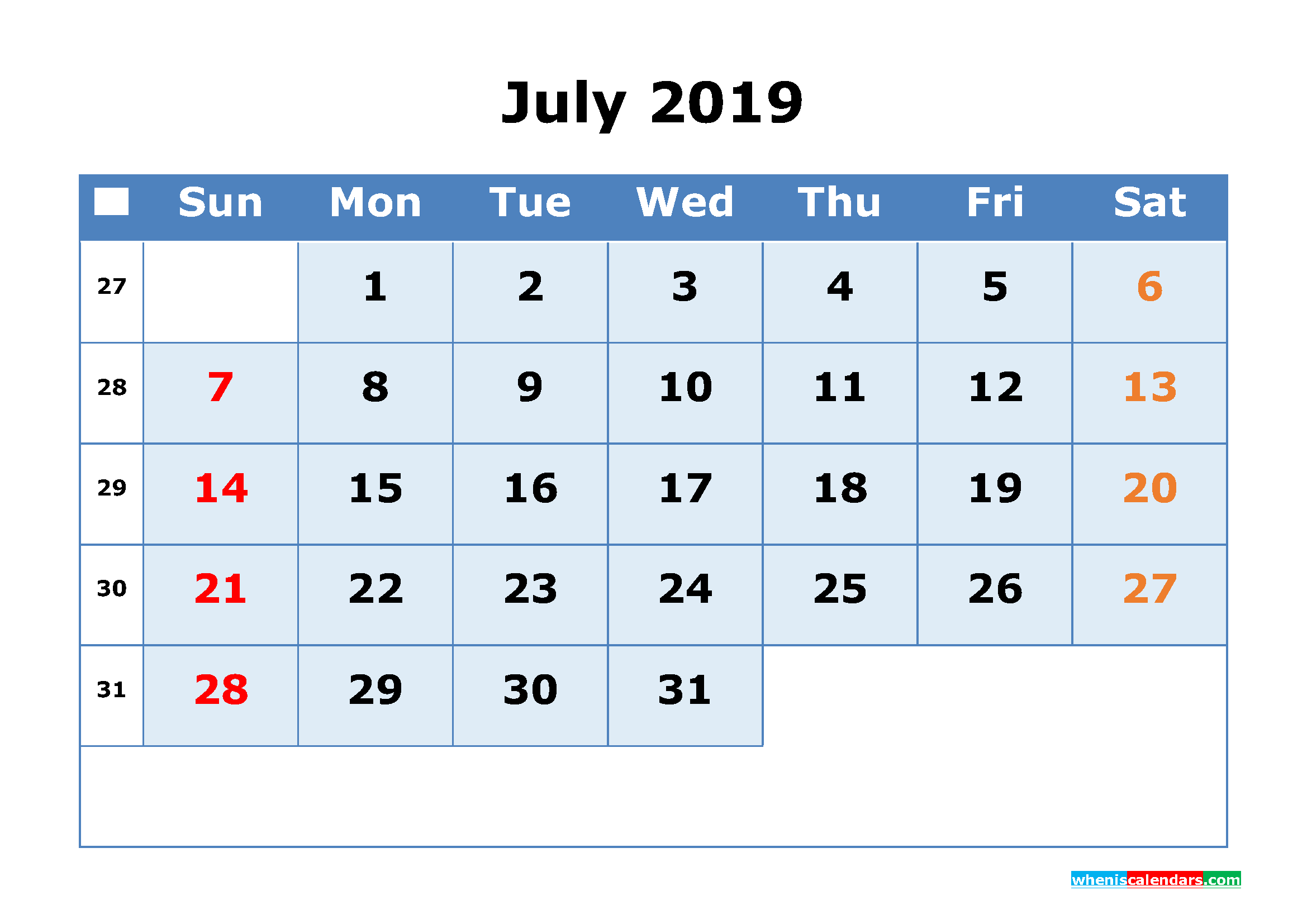 Cute July 2019 Blank Calendar