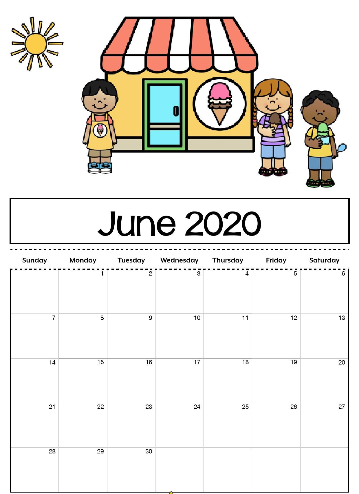 Cute June 2020 Calendar Editable