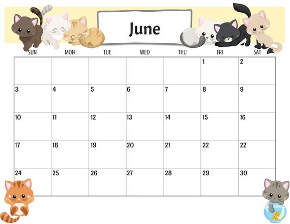 Cute June 2020 Calendar Fillable
