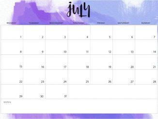 Editable July 2019 Calendar