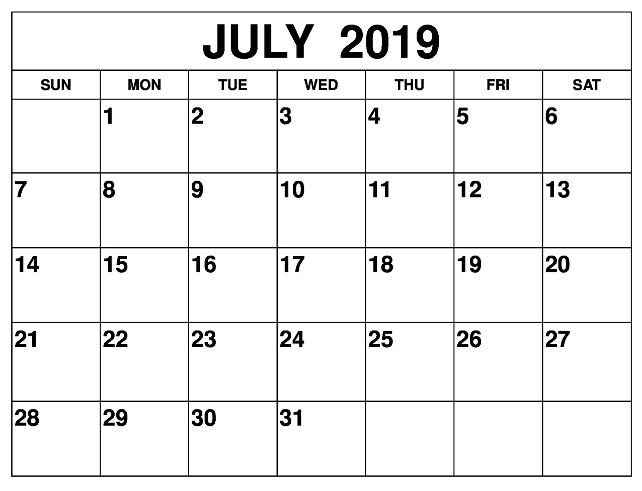 Editable July 2019 Calendar Excel