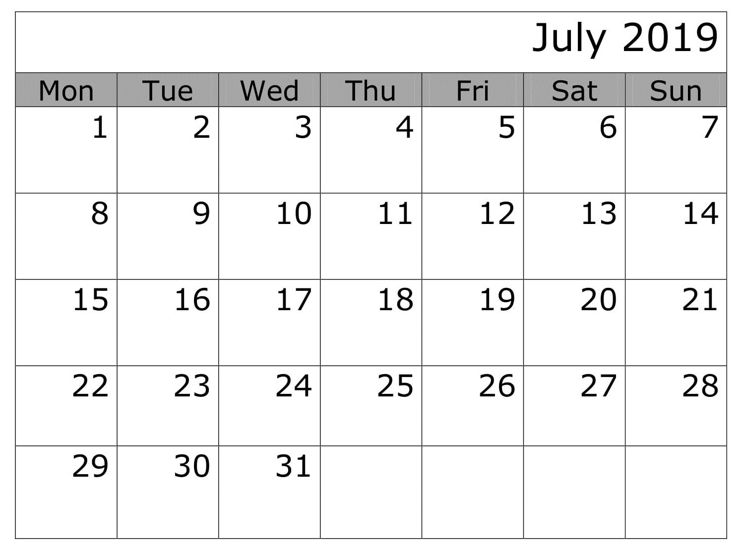 Editable July 2019 Calendar Word