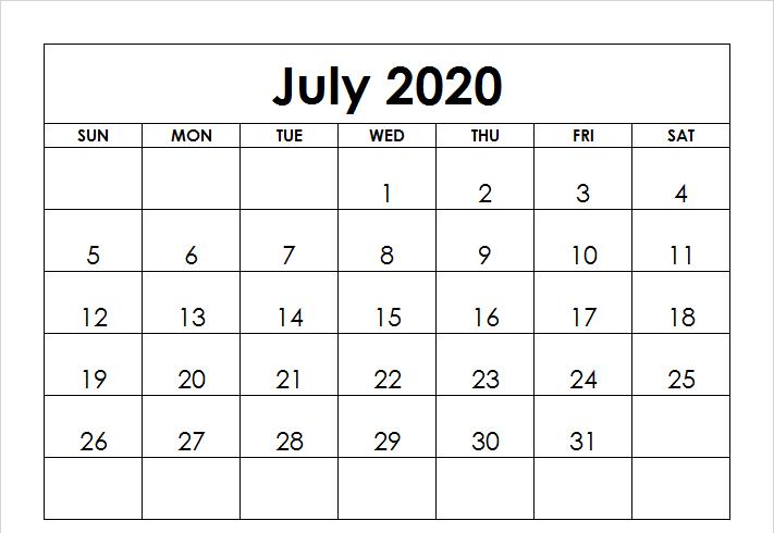 Editable July 2020 Calendar Landscape
