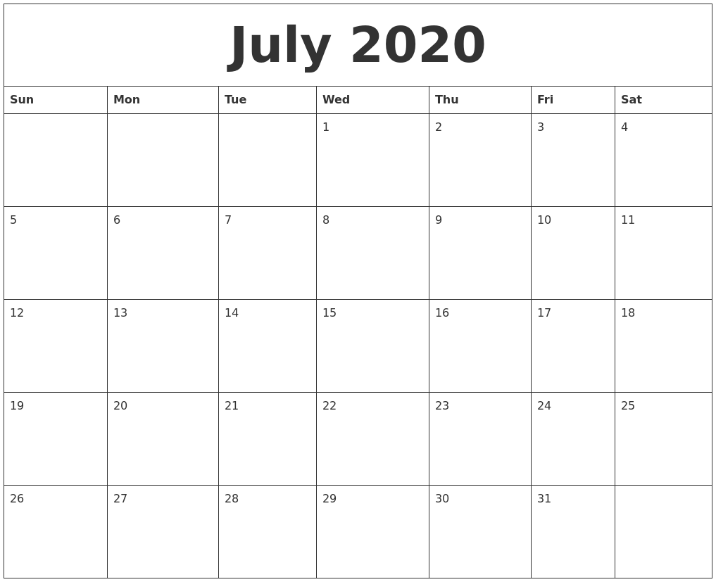 Editable July 2020 Calendar Portrait