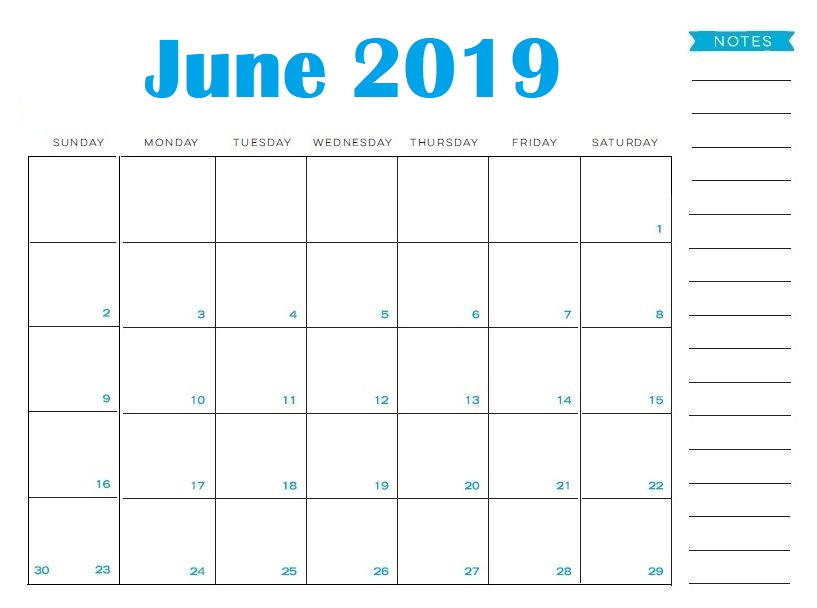 Editable June 2019 Calendar Printable with To Do List