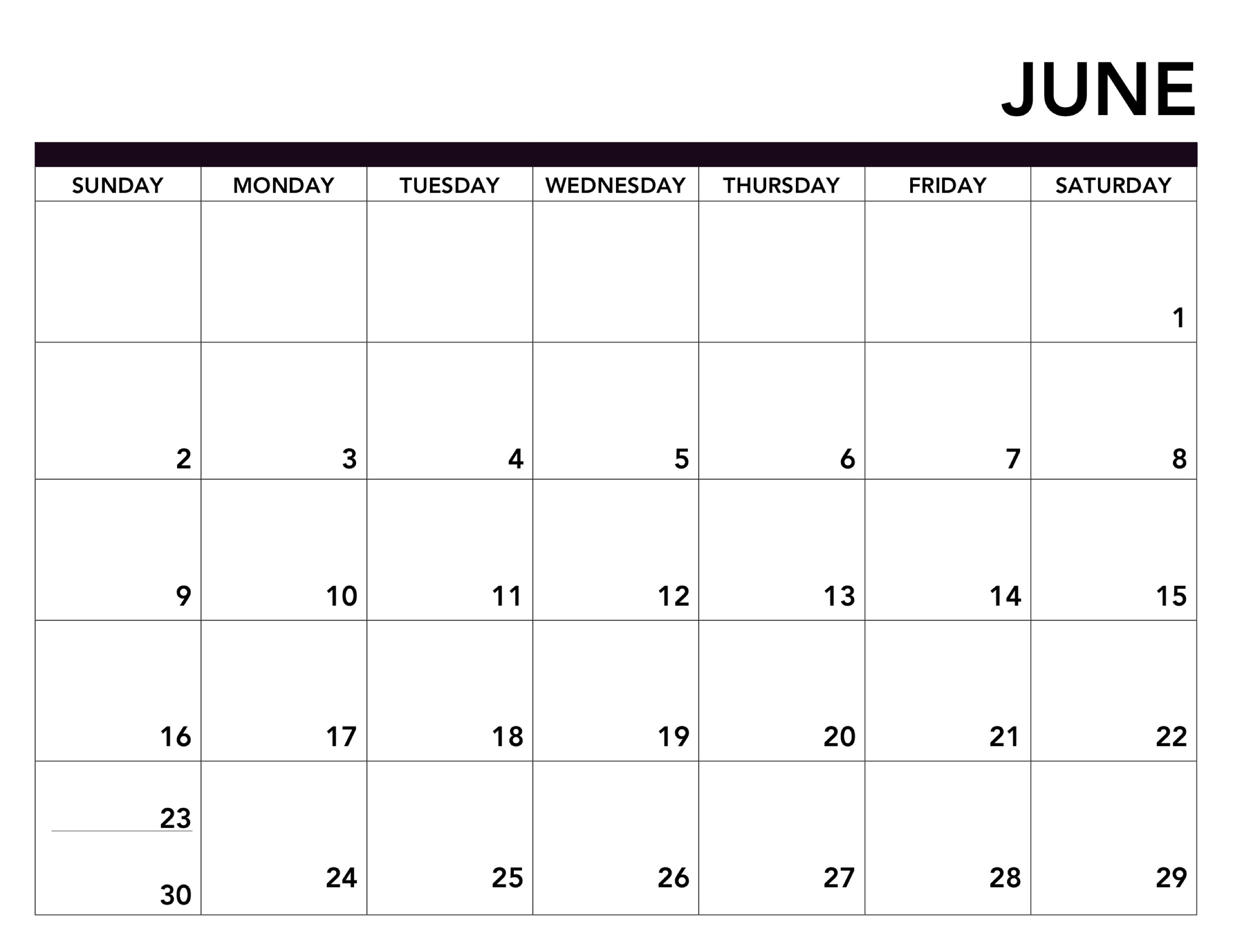 Blank June 2019 Printable Calendar.Editable June 2019 Calendar Printable Fillable Template Word