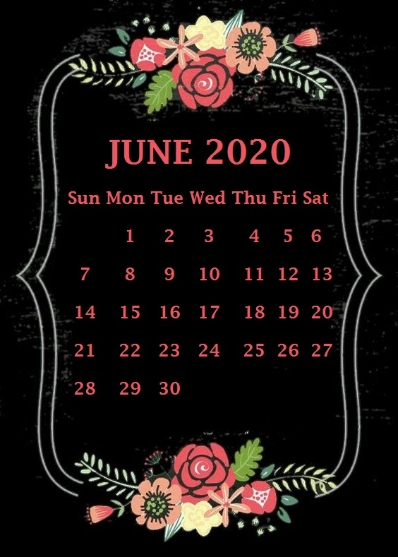 Editable June 2020 Calendar Cute
