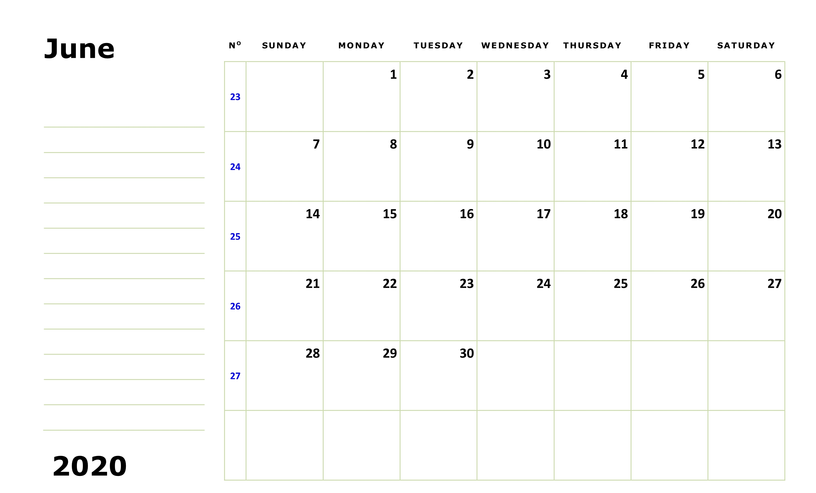 Editable June 2020 Calendar Printable Templates