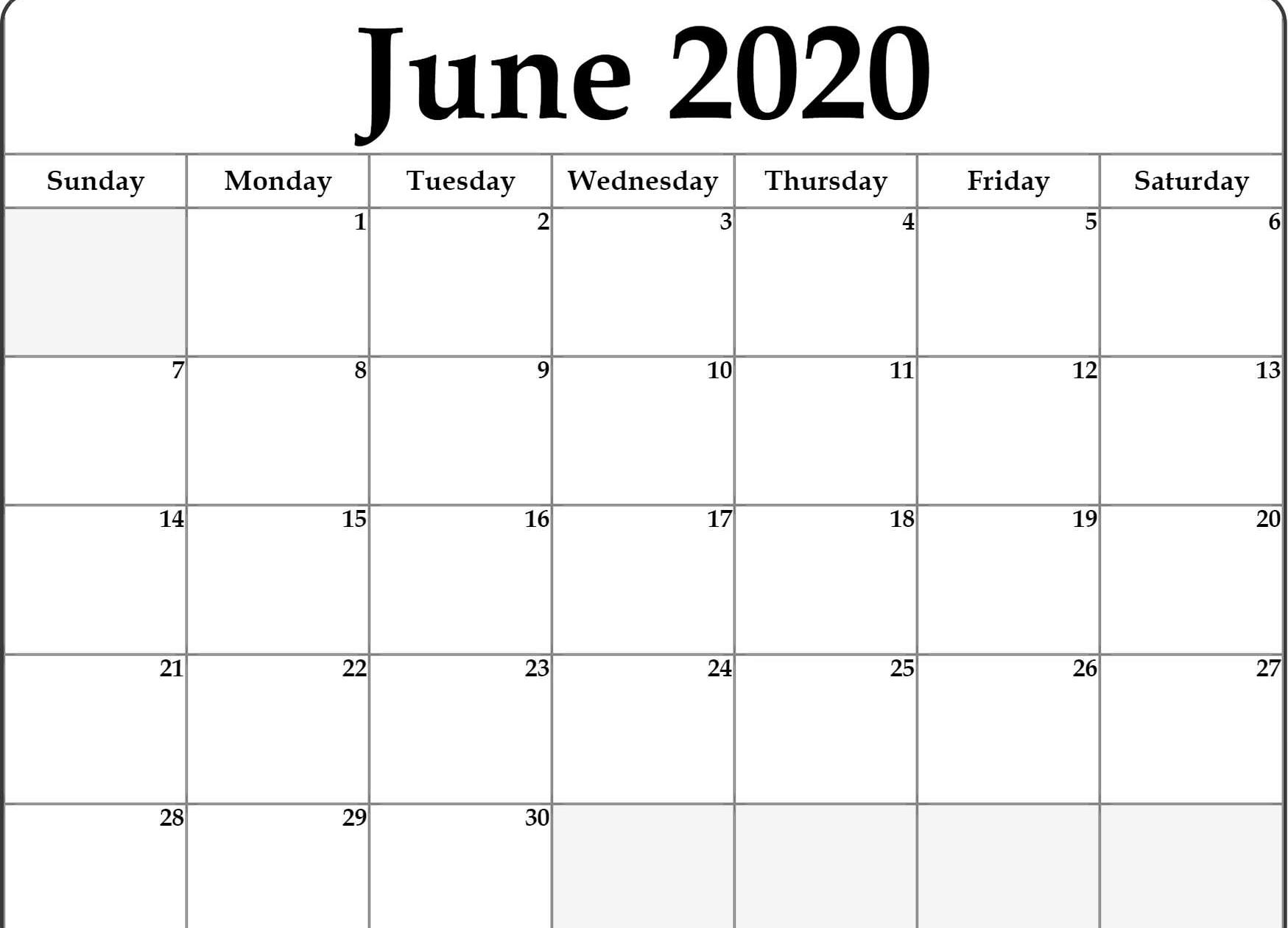 Editable June 2020 Calendar Templates Word