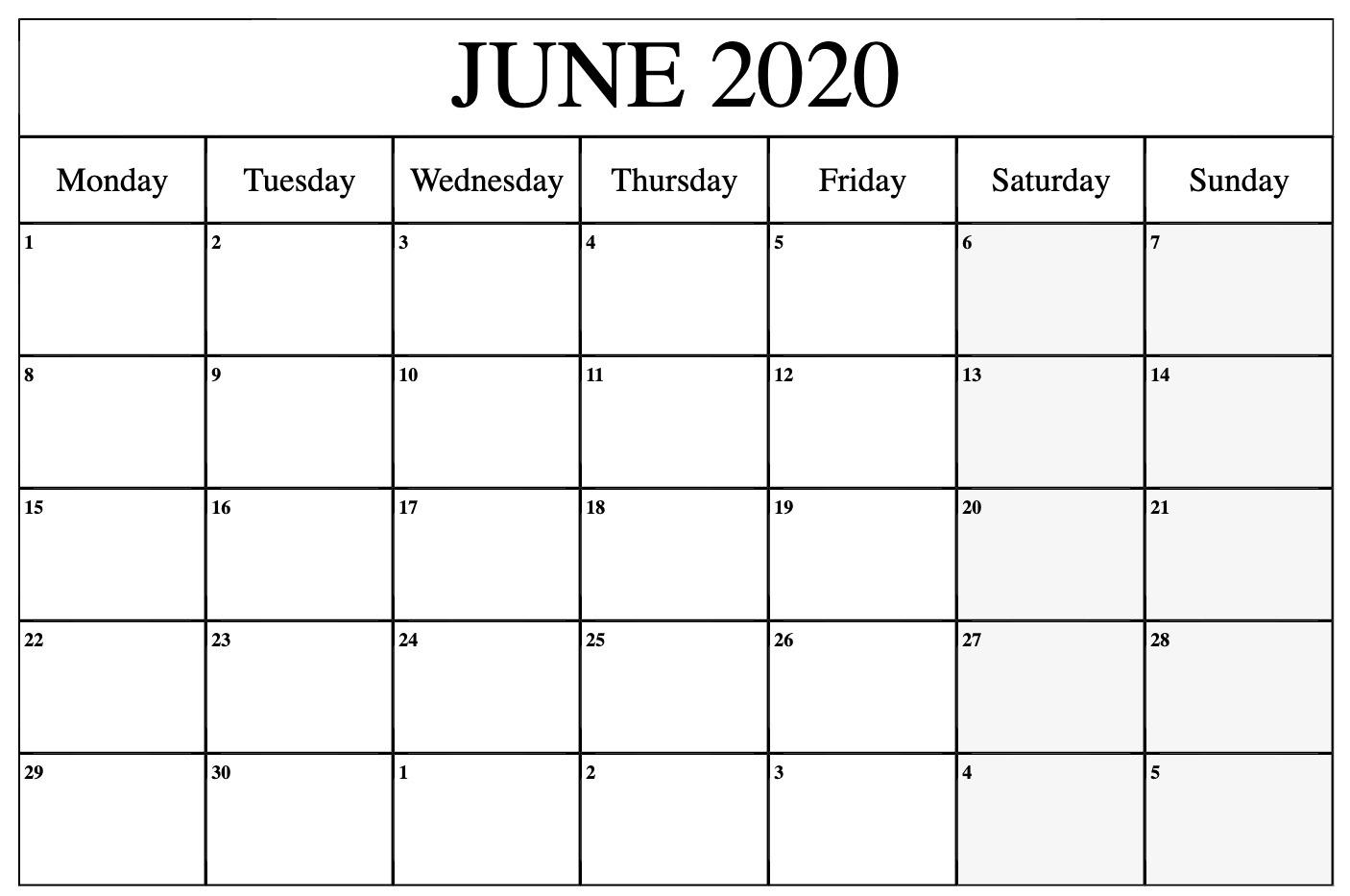Editable June Calendar 2020