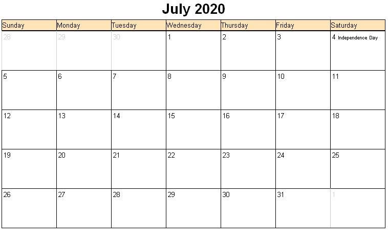 Fillable July 2020 Calendar Printable