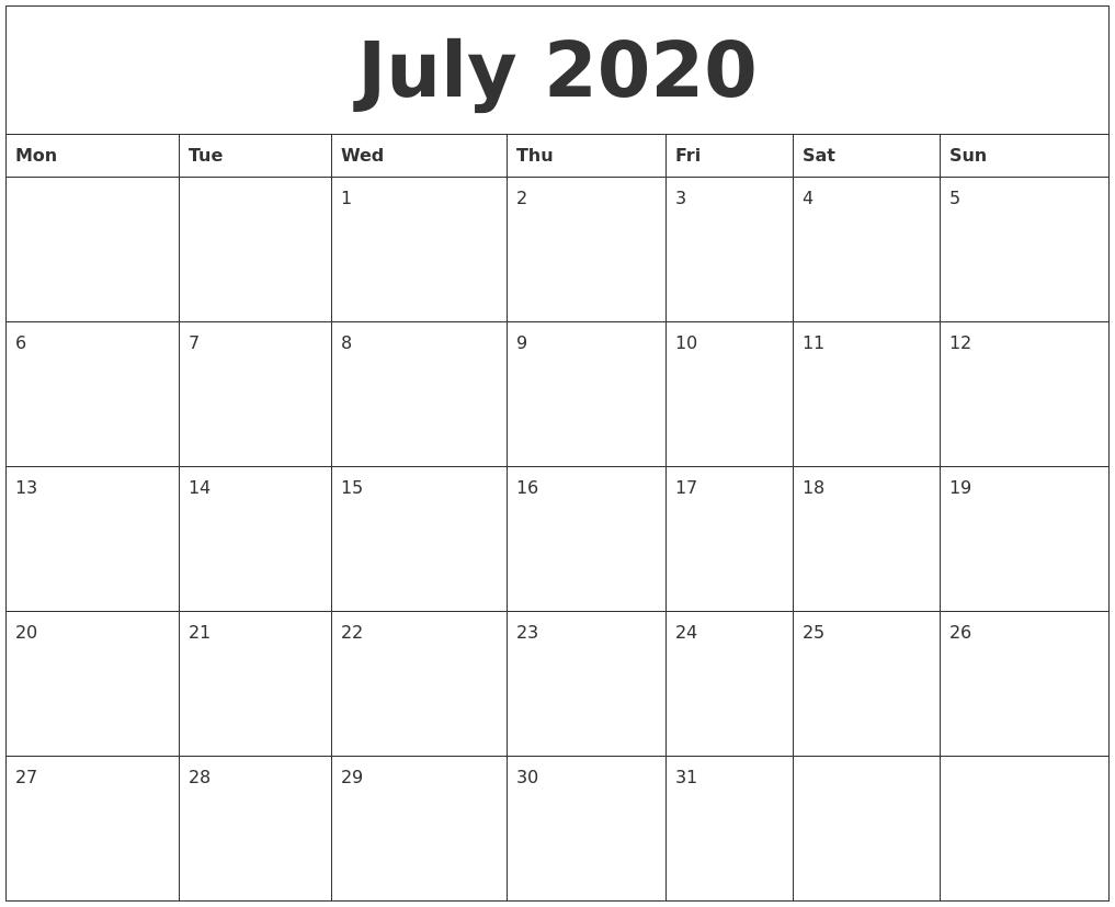 Fillable July Calendar 2020