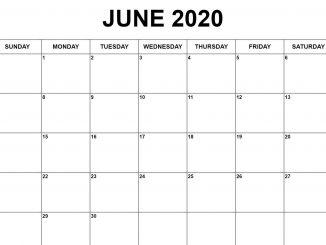 Fillable June 2020 Calendar Printable Templates