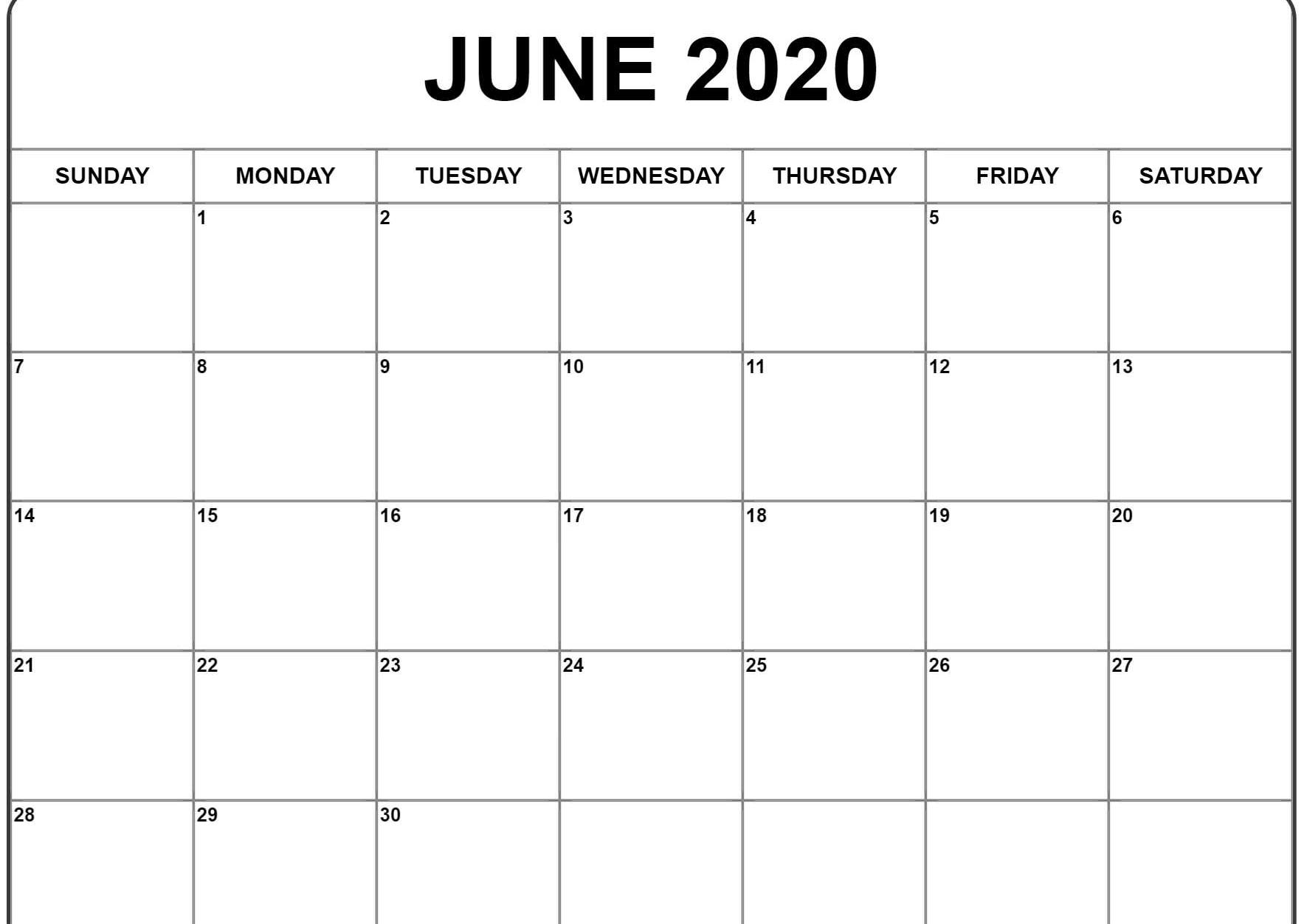 Fillable June 2020 Calendar Printable Templates