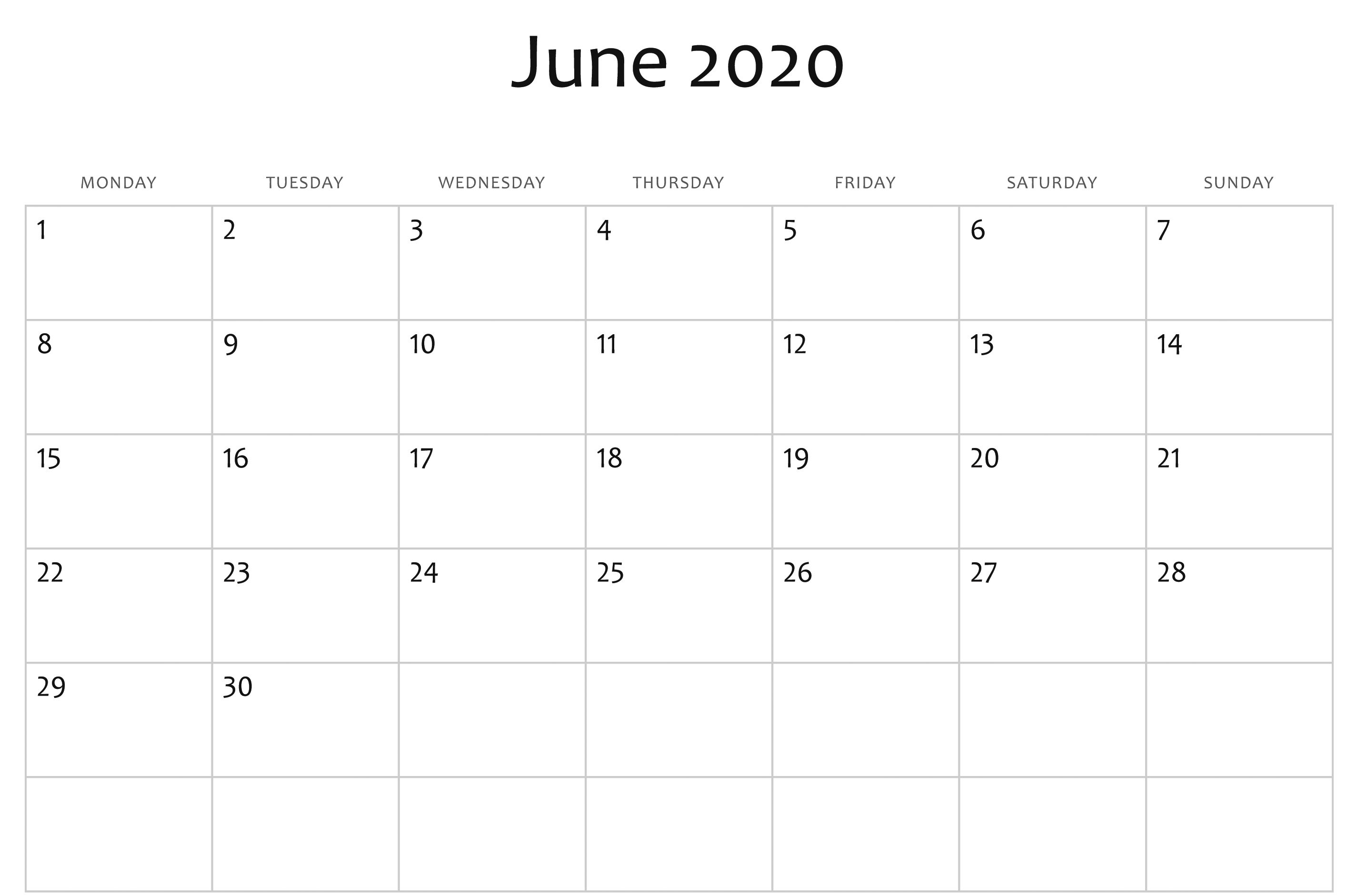 Fillable June 2020 Calendar Templates