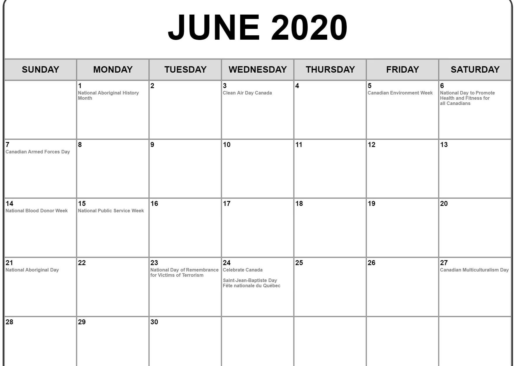 Fillable June 2020 Calendar