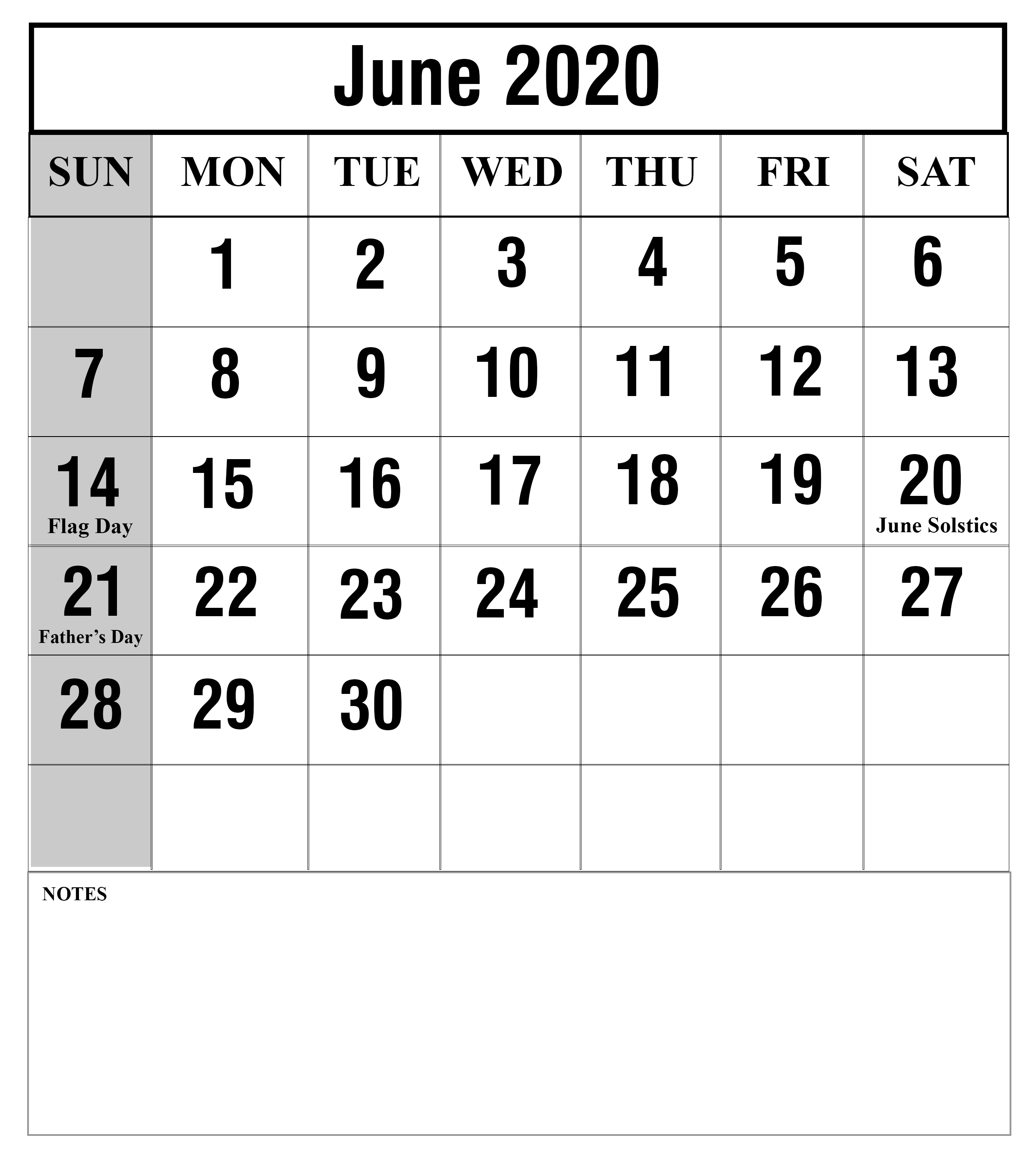 Free Blank June 2020 Monthly Calendar
