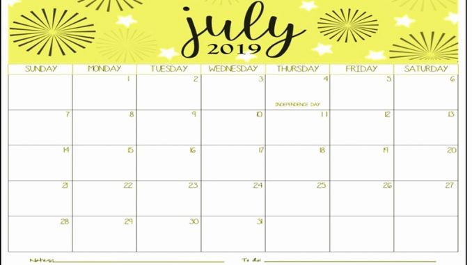 graphic relating to Free Printable July Calendar identified as Blank July 2019 Calendar Printable Template Vacations