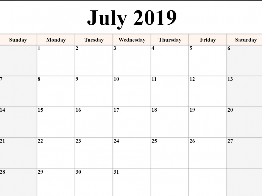 Free Printable July 2019 Calendar Download