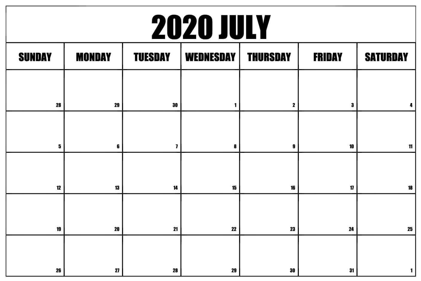 Free Printable July 2020 Calendar for Office