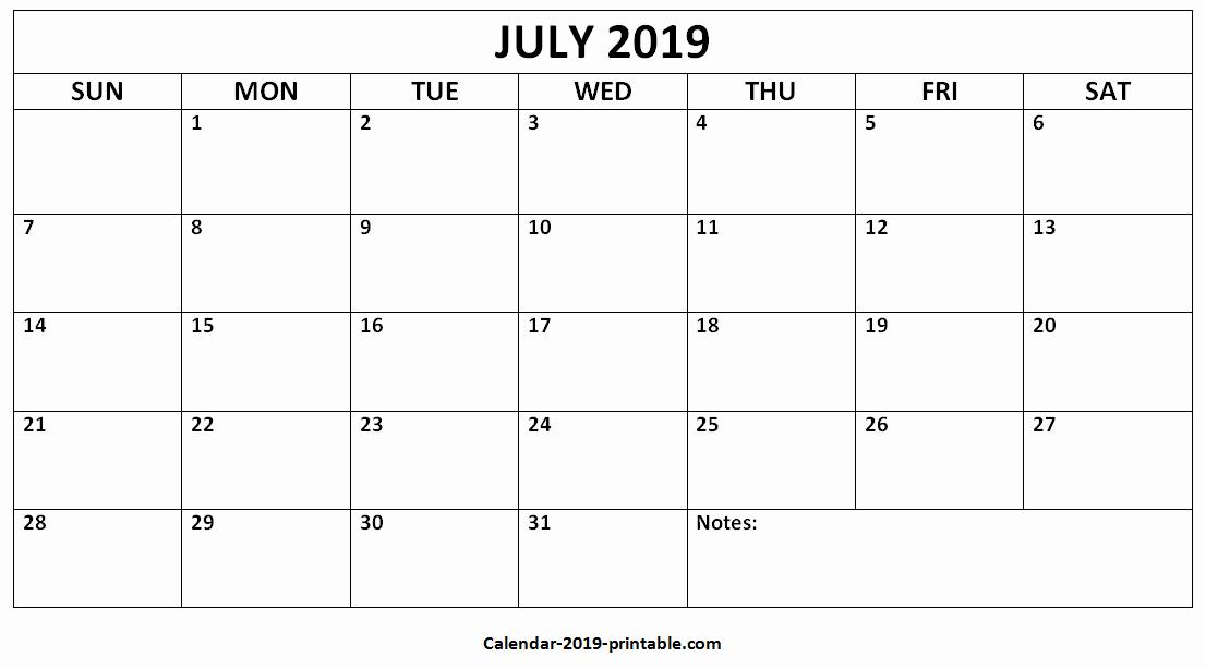 July 2019 Blank Calendar Landscape