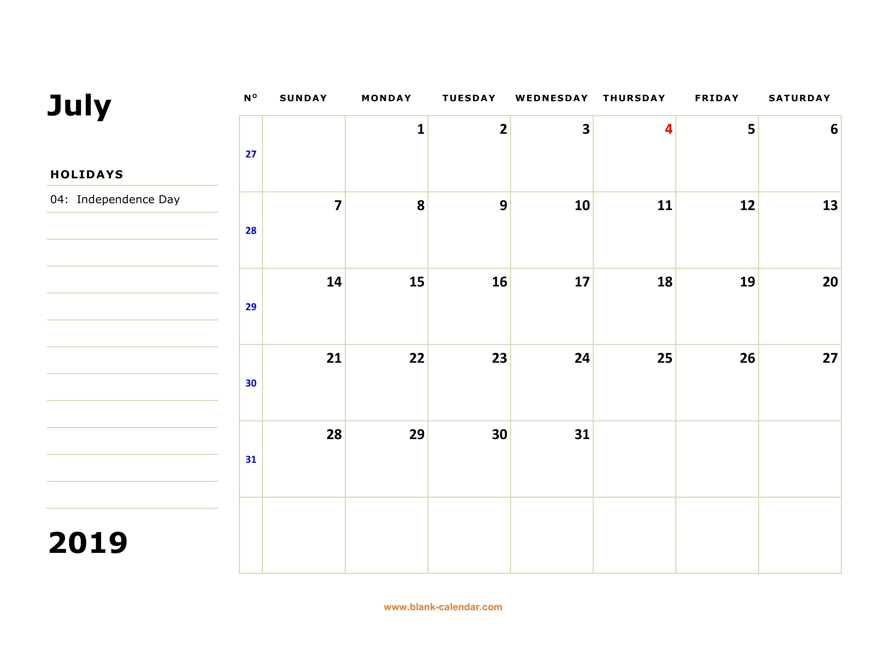 July 2019 Blank Calendar PDF