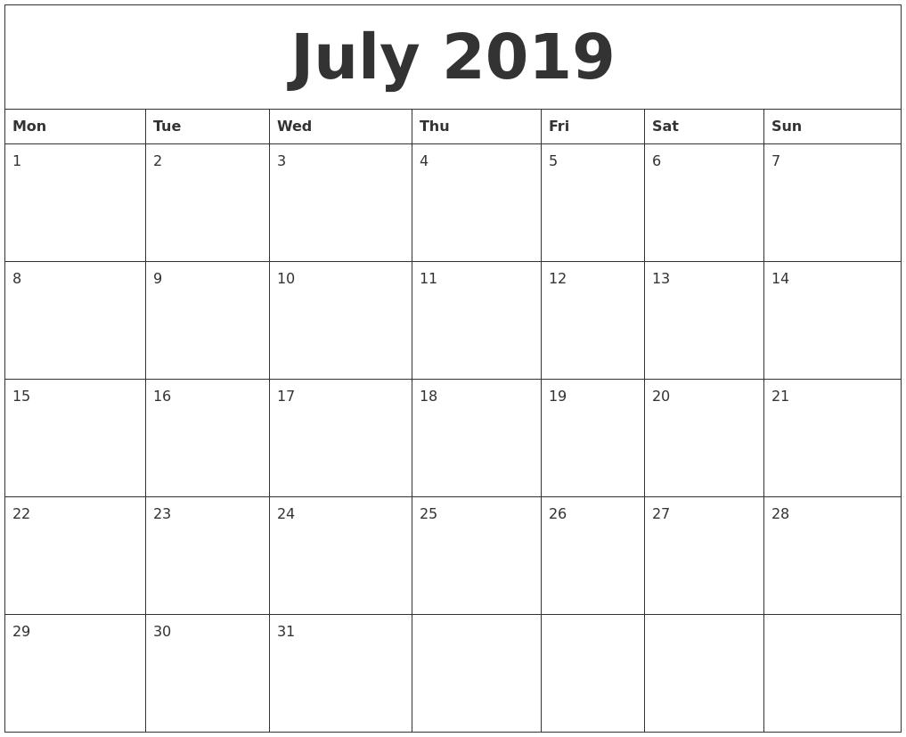 July 2019 Blank Calendar Page
