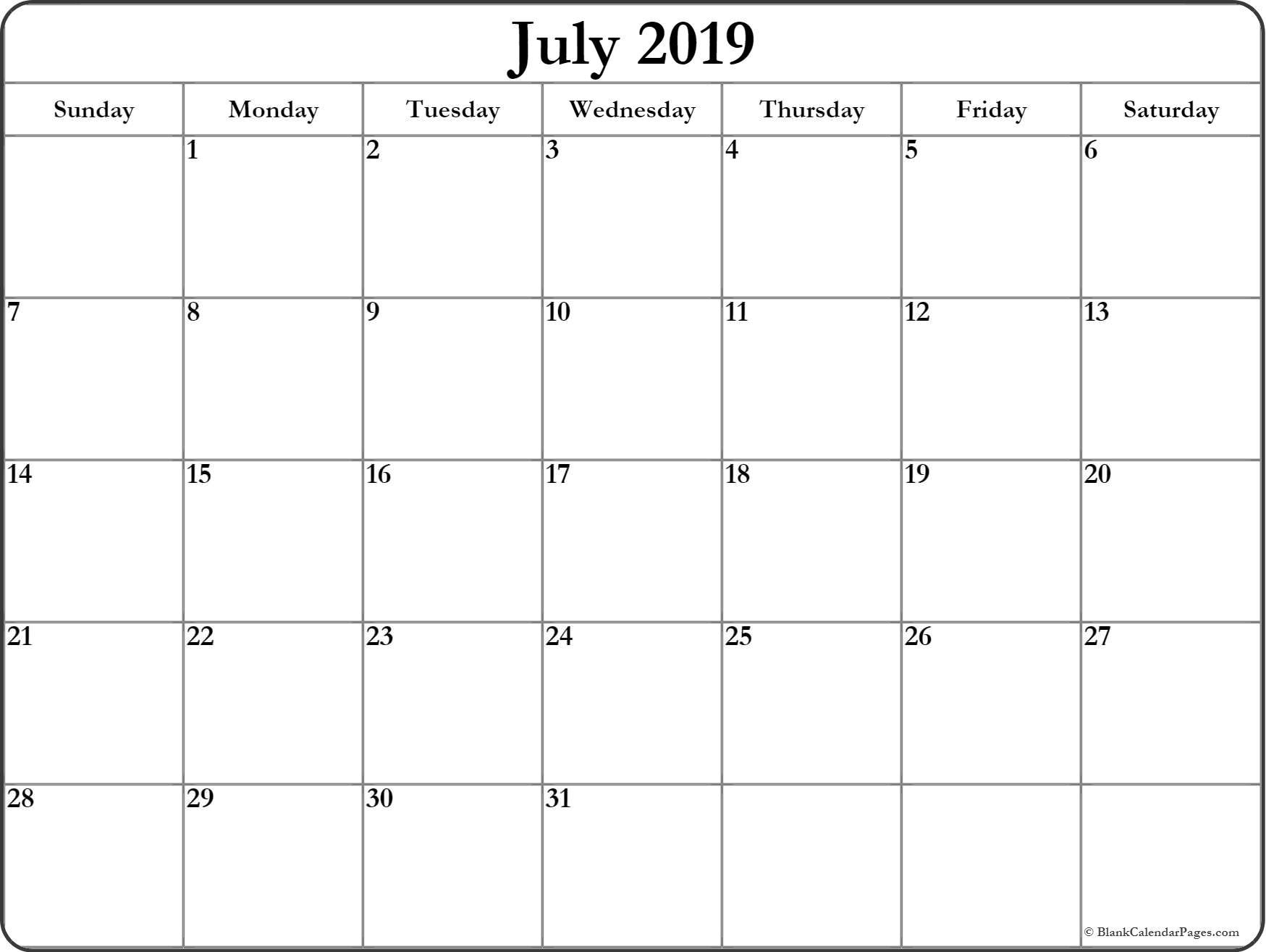 July 2019 Blank Calendar Printable