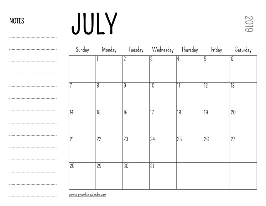 July 2019 Blank Calendar with Notes