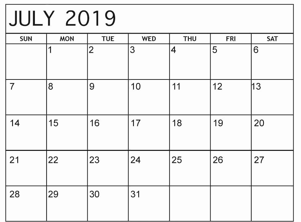 July 2019 Calendar Large Box
