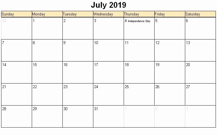 july 2019 calendar with holidays USA
