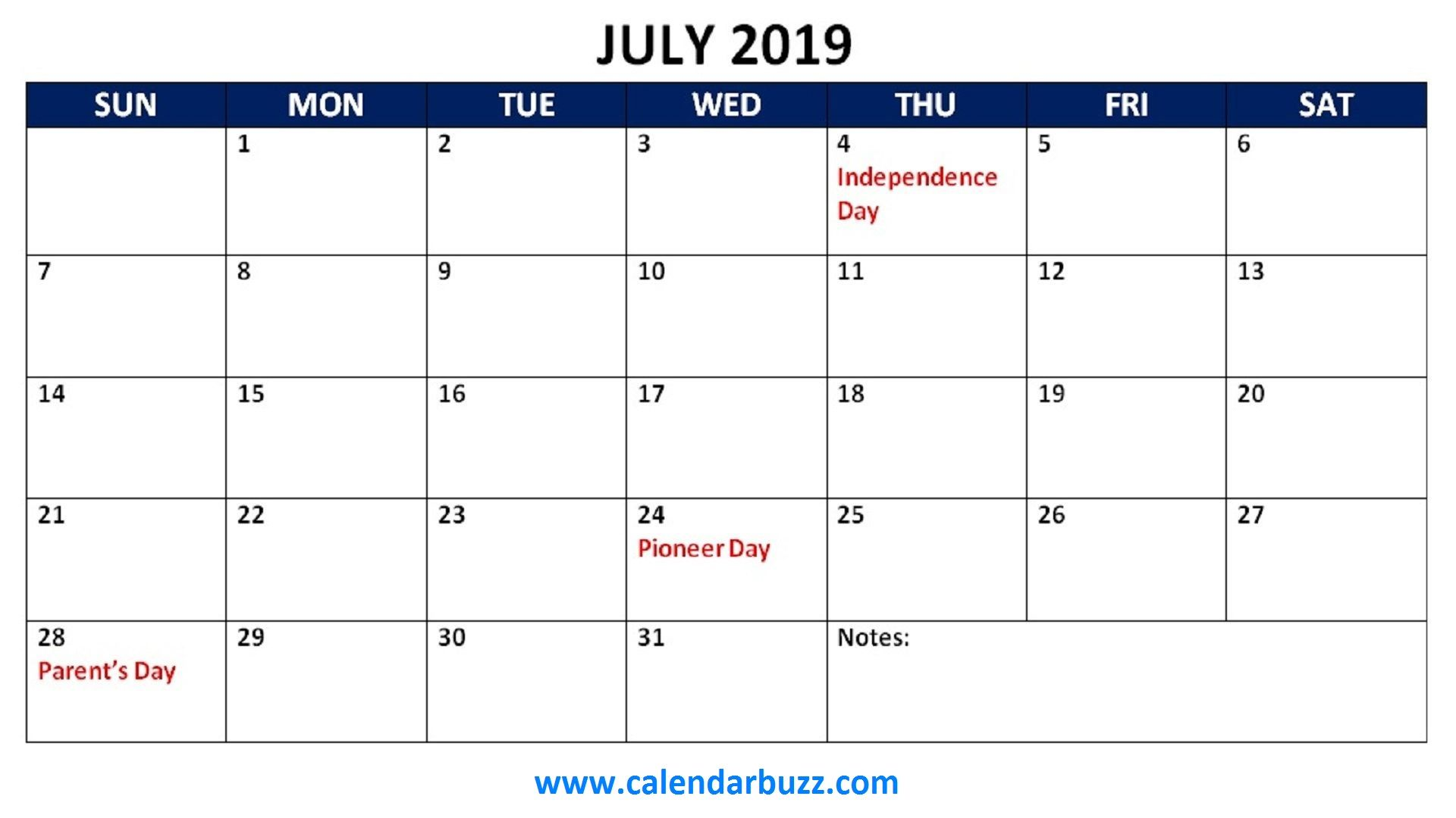 June 2019 Calendar With Holidays July 2019 Calendar with Holidays   Free March 2019 Calendar