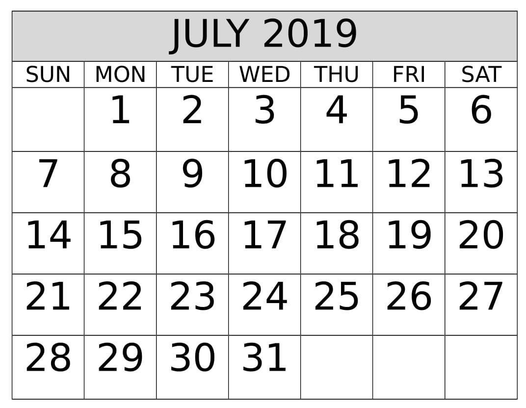 July Calendar 2019 Printable Landscape
