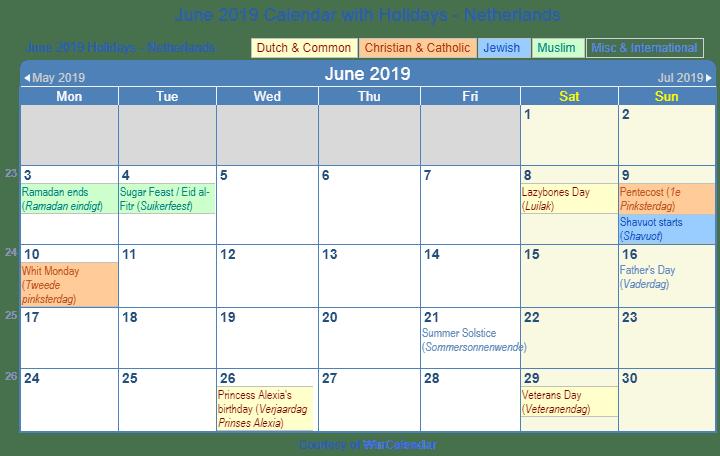 June 2019 Calendar Netherlands