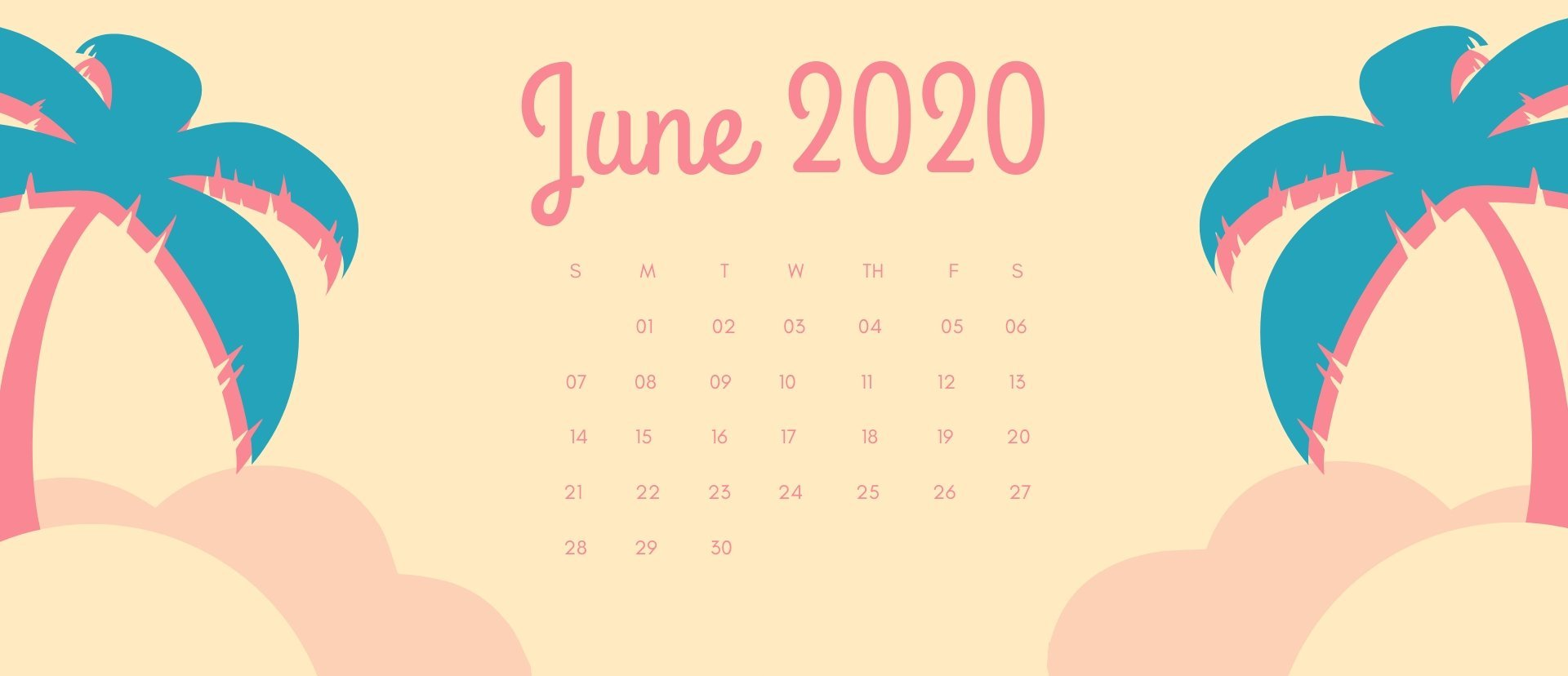June 2020 Calendar Desktop Wallpaper