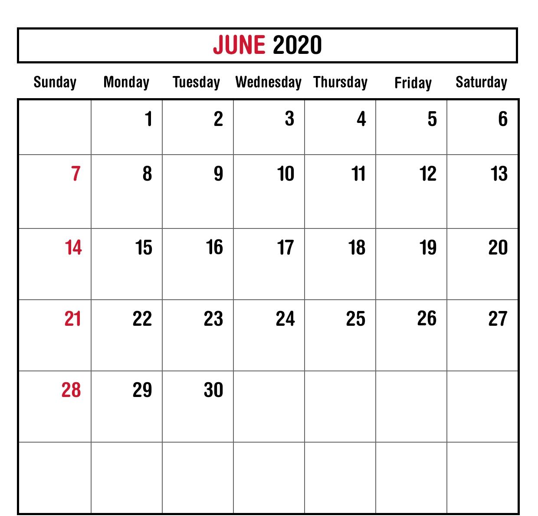 June 2020 Calendar Excel