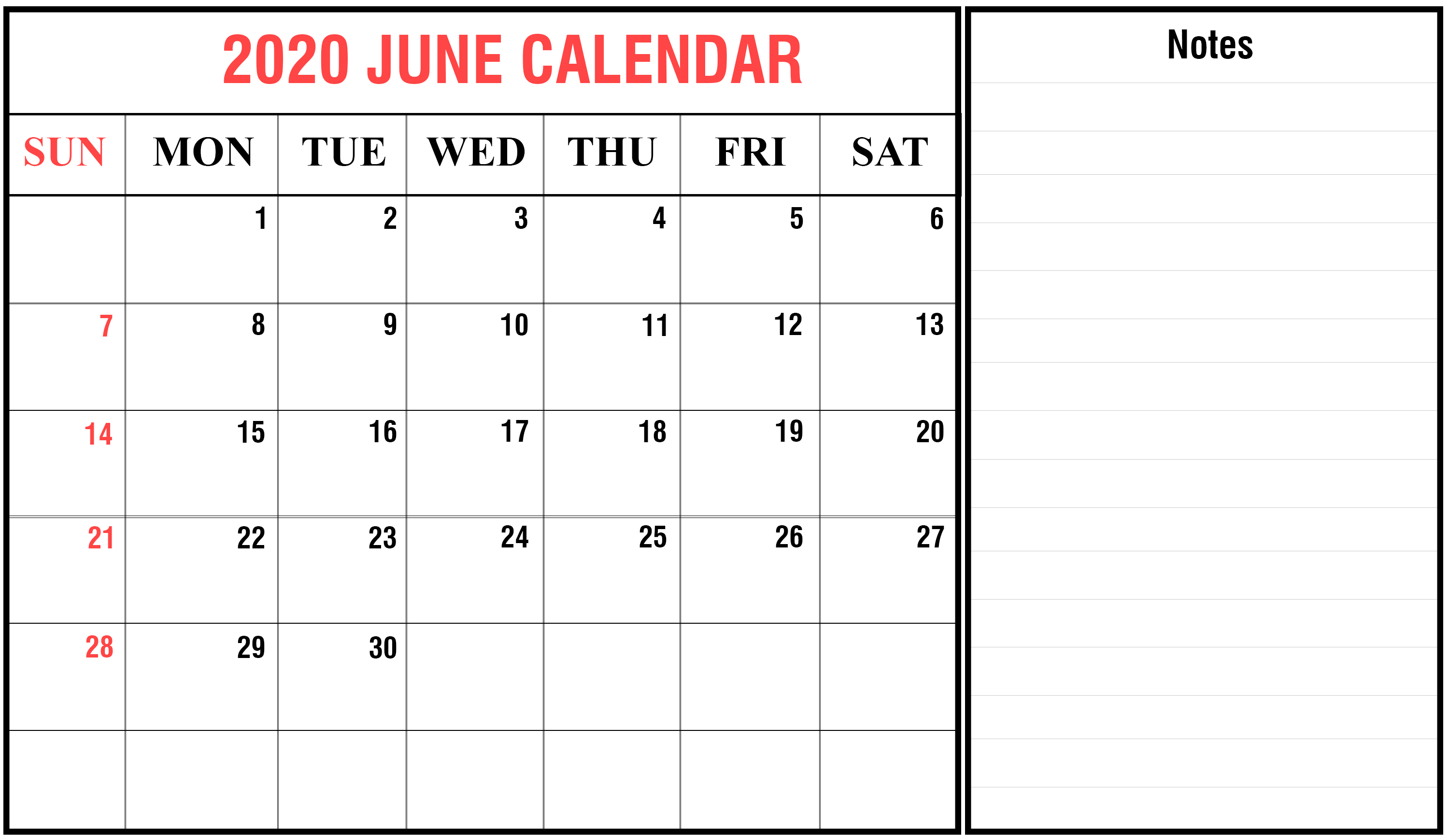 June 2020 Fillable Calendar Template Word