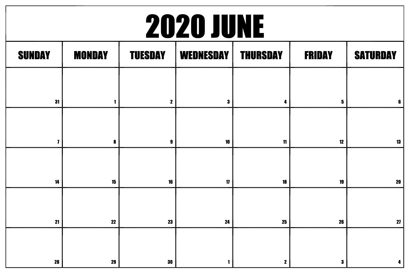 June 2020 Printable Calendar Monthly