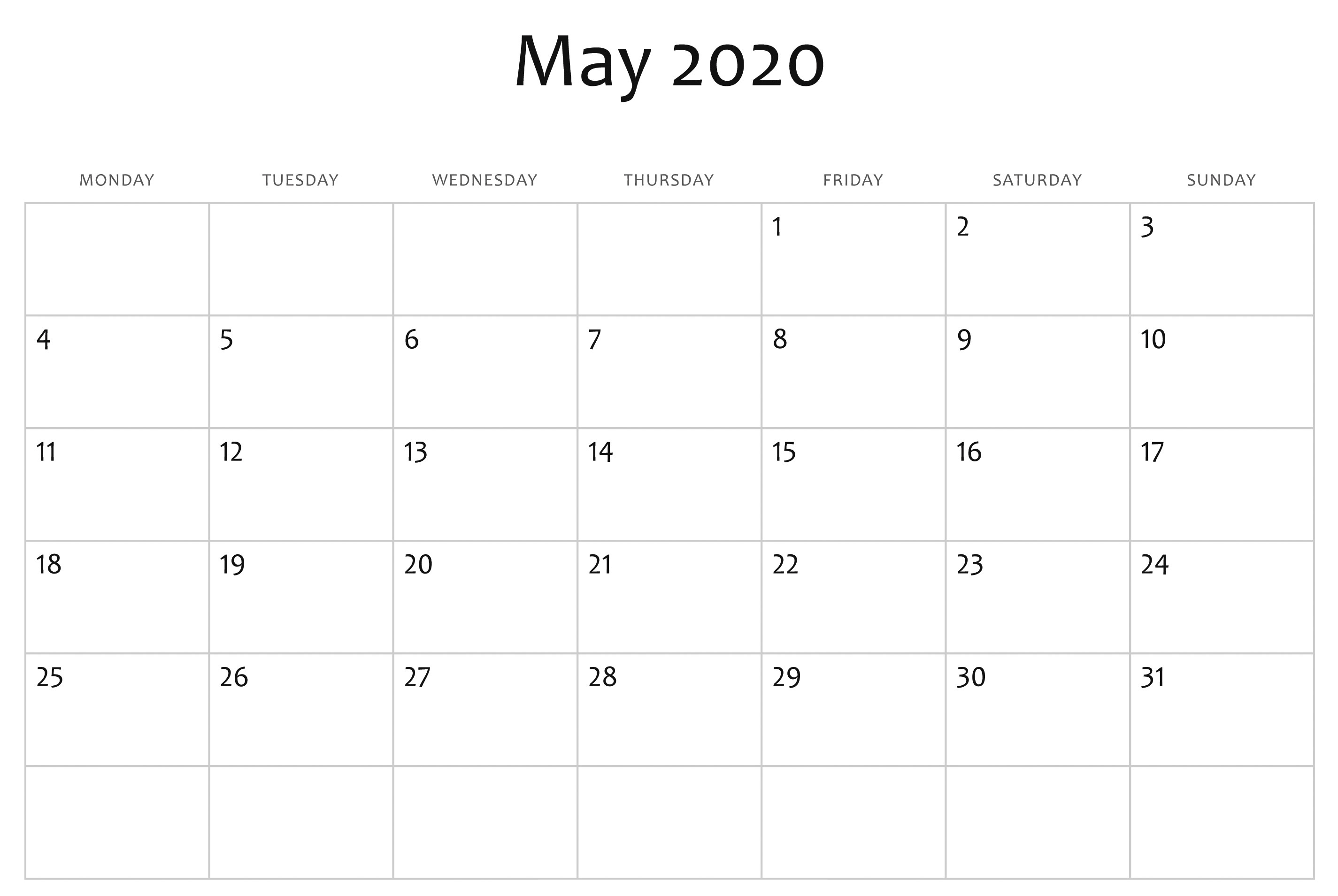 May 2020 Calendar Blank Template