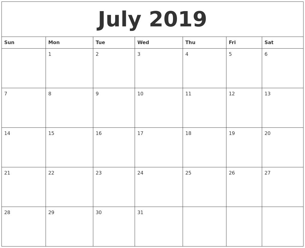 Monthly Editable Calendar July 2019