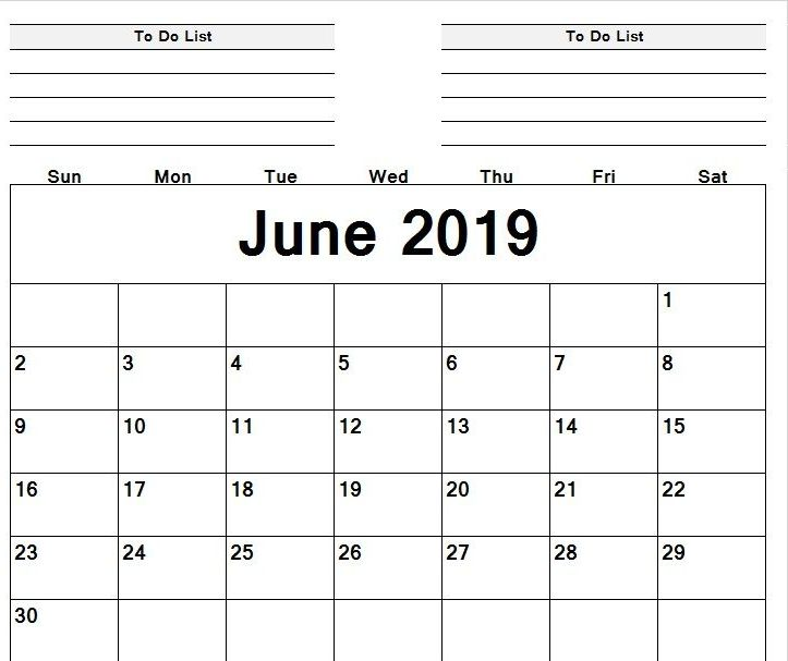 Print Editable Calendar June 2019 Fillable Sheet